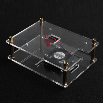 Clear Enclosure Case Box+Cooling Fan For Raspberry Pi 3 Model B/2 Model B/B+