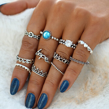 Vintage Crystal Knuckle Ring Set Geometric Silver Finger Rings Ethnis Jewelry for Women
