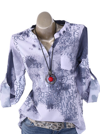 Women Print V Neck Buttons Long Sleeve Casual Tops