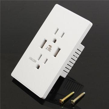 AC 125V 15A Power Charger DC 5V Dual USB Wall Charging Socket
