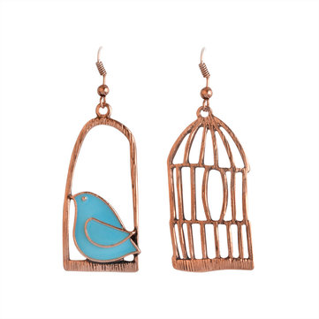 Silver Drop Earrings Blue Grey Bird Birdcage Pendants Fashion Asymmetric Women Earring