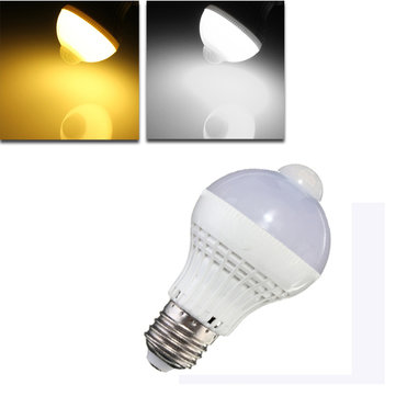 E27 LED Bulb 5W SMD 2835 18 Pure White/Warm White Motion Control PIR Sensor Globe Light Lamp AC 220V