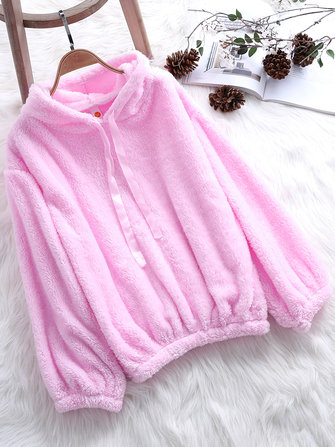 Women Fleece Solid Color Puff Sleeve Hooded Sweatshirt