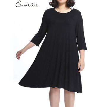 O-NEWE Loose Women Pure Color Back Bow Cotton Mini Dress