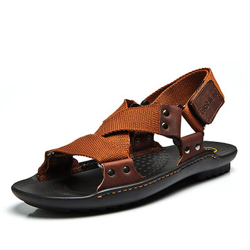 Men Comfy Summer Shoes Breathable Cloth Hook Loop Sandals