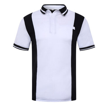 Men's Black White Hit Color Design Golf Shirt Casual Turn Down Collar Short-sleeved Tops Tees