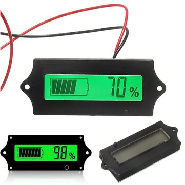 3pcs GY-6A Y6A 12V 24V 36V 48V Lead Acid Battery 2-15S Lithium Battery Universal Adjustable 6-63V Green Screen Waterproof LCD Capacity Display Board Indicator Digital Voltmeter With Switch