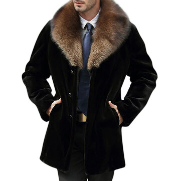 Mens Faux Fur Collar Winter Warm Woolen Overcoat Parka