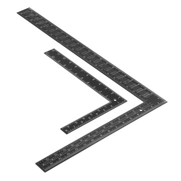 Drillpro Black Steel Double-sided Metric Inch Angle Ruler 90 Degree Angle Corner Ruler