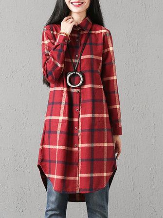 Women Casual Plaid Long Sleeve Asymmetric Shirt Mini Dress