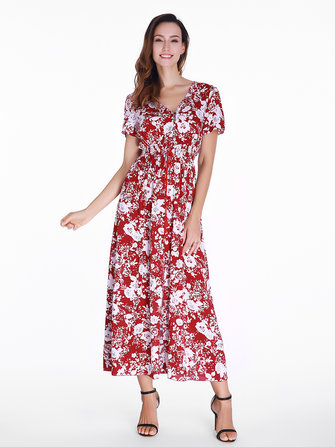 Floral Printed Split Hem Bohemian Long Maxi Dress