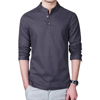 Chinese Style Linen Cotton Traditional Plain Pure Color Stand Collar Shirts for Men