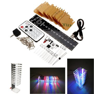 13 Segments Audio Light Column SCM Light Cube Set Remote Control DIY Electronic Music Spectrum Kit Support Offline Animation Night Light Mode With Transparent Acrylic Shell