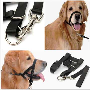 Dogs Puppy Nylon Adjustable Buckle Muzzle Control Barking Ventilation Black