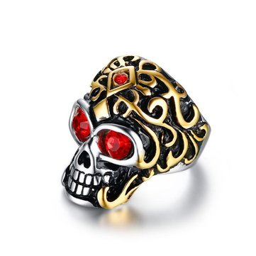 32mm Punk Titanium Steel Men's Jewelry Skull Rhinestone Finger Ring for Men
