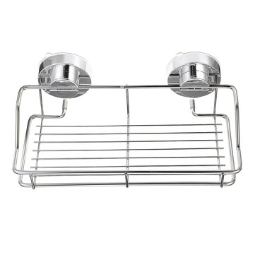 Stainless Steel Shower Storage Suction Cups Caddy Shelf Wall Mounted Bathroom Kitchen Storage Rack