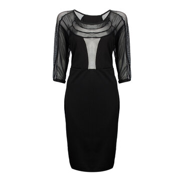 Sexy Grid Patchwork Hollow Out Women Bodycon Pencil Dress