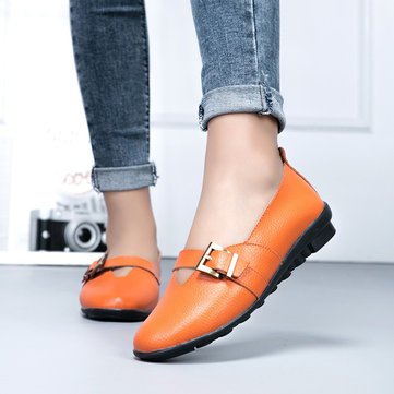 Large Size Casual Soft Buckle Flats Loafers Slip On Shoes