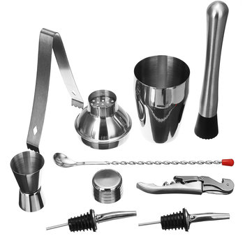 8Pcs Stainless Steel Cocktail Jigger Mixer Bar Drink Shaker Bartender Strainer