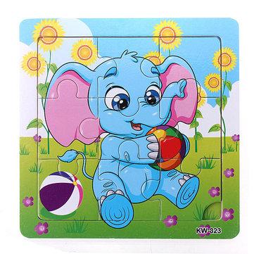 9Pcs DIY Wooden Elephant Puzzle Jigsaw Baby Kids Training Toy