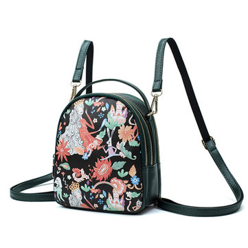 Women Mori Girl Print Handbag Backpack Creative Crossbody Bag