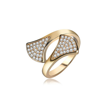 Elegant Sterling 24K Gold Plated Shiny Zircon Fan Shape Interlaced Ring Fashion Women Jewelry
