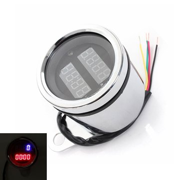 Universal 12V Motorcycle LED Digital Tachometer and Clock Gauge