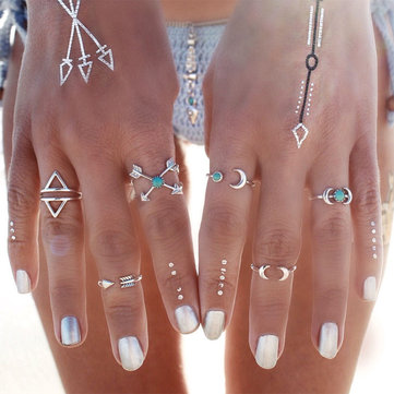 6Pcs Bohemia Vintage Turquoise Moon Arrow Set Rings Knuckle Rings