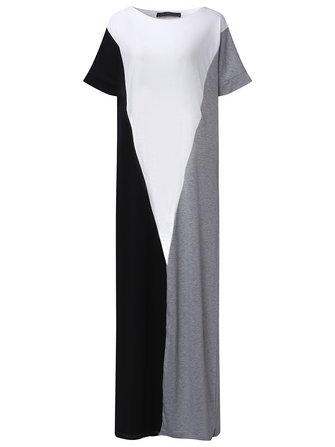 Casual Women Short Sleeve Splice Color Loose Long Maxi Dresses