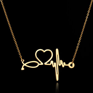 Simple Stainless Steel Heartbeat Electrocardiogram Heart Pendant Chain Necklace for Women