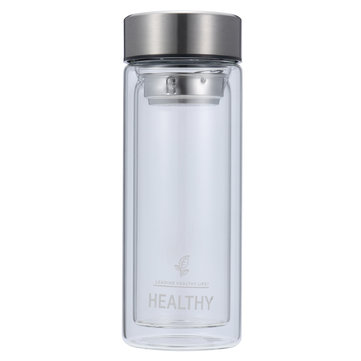 300ml Double Wall Water Glass Bottle Mug Filtration Water Bottles