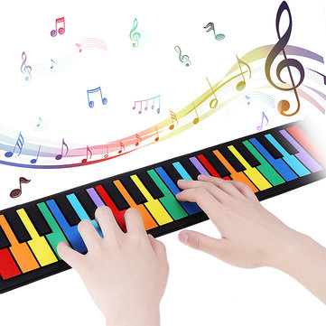 iword S2037 37 Keys 8 Tones Hand Roll Up Piano for Kids Musical Imstrument