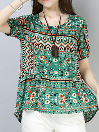 Women Cotton Printed Short Sleeve Irregular Hem Blouse