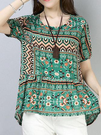 Women Cotton Printed Short Sleeve Irregular Hem Blouse