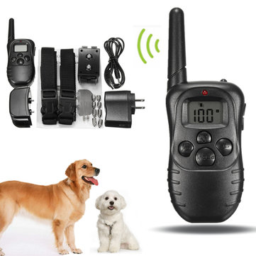 Rechargeable and Waterproof LCD Pet Dog Training Collar Anti Bark Control for 2 dogs