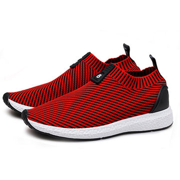 Men Knitted Farbic Shock Absorption Casual Athletic Shoes
