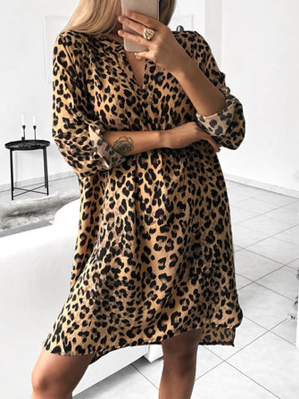 Women Casual V Neck Leopard Print Long Sleeve Shirt Dress