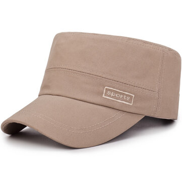 Middle-Aged Mens Cotton Flat Top Hats Casual Outdoor Sunscreen Military Army Peaked Cap