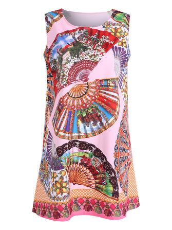 ผ้าพับรูปแบบแฟนซีพิมพ์ลายแขนกุดคอเล็กสำหรับผู้หญิง