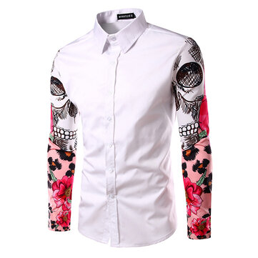 Mens Fashion Printing Creative Long Sleeve Slim Fit Dress Shirts