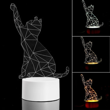 3D USB Cute Cat Acrylic Night Light 3 Color Changing LED Desk Table Decor Lamp