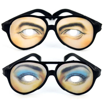 Halloween Funny Fake The Eye Skin Plastic Half Face Expression Man Woman Glasses