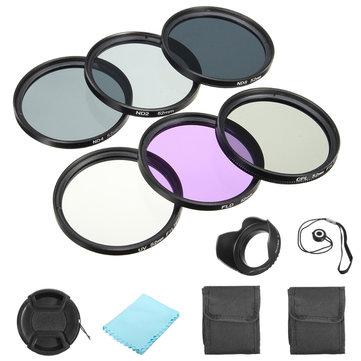52mm Filter UV CPL FLD + ND 2 4 8 Kit Set For Canon Nikon Sony DSLR Camera Lens