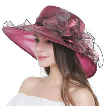 Women Short Brim Large Wide Brim Gauze Bucket Hat Dress Cap
