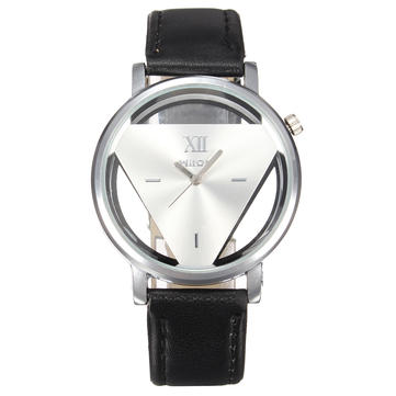 Casual Inverted Triangle PU Leather Band Analog Women Men Quartz Watch