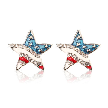 Trendy Five-Pointed Star American Flag Ear Stud Zinc Alloy Rhinestone Earrings Jewelry for Women