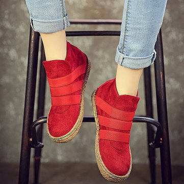 US Size 5-11 Slip On Round Toe Suede Ankle Short Boots For Women