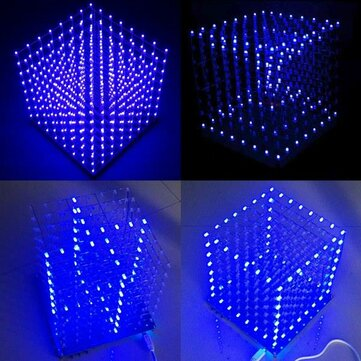 Geekcreit® 8x8x8 LED Cube 3D Light Square Blue LED Electronic DIY Kit