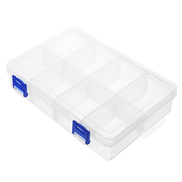 8 Grids Transparent Storage Box Double Latch Compartments Parts Container Assortment Organizer