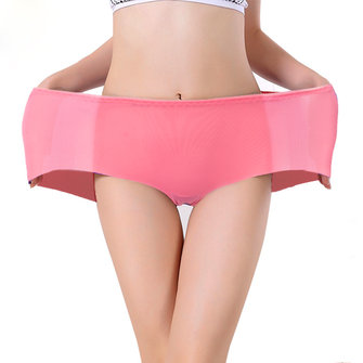 Women Comfy Ice Silk Panties Seamless Breathable Physiological Briefs